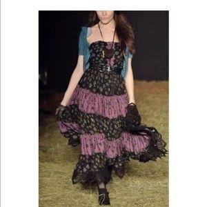 Betsy Johnson silk floral maxi dress, Size 2